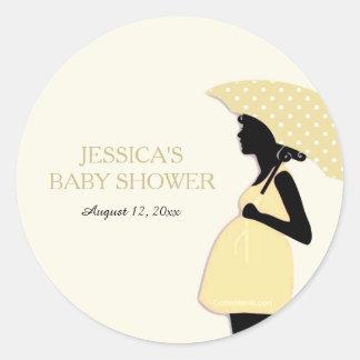 Den gula polkaen pricker paraplybaby runt klistermärke