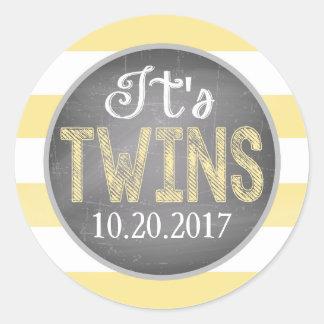 Den gula randen kopplar samman baby shower runt klistermärke