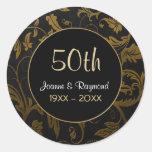 Den guld- årsdagen för damast 50th - skräddarsy rund klistermärke
