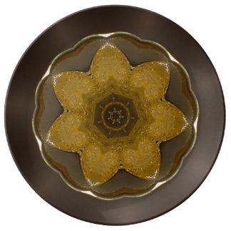 """Den guld- blomman 10,75"""" dekorativt porslin"""