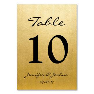 Den guld- bordsnumret för bröllopmottagandet Cards Bordsnummer