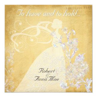 Den guld- crosshatchen har och hållbröllopinbjudan fyrkantigt 13,3 cm inbjudningskort
