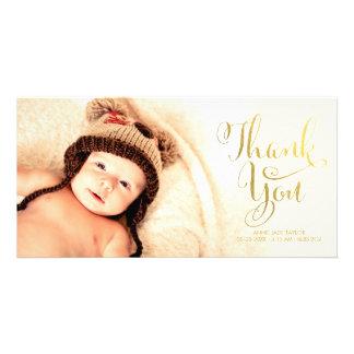 Den guld- fauxen omkullkastar babyen som tack fotokort
