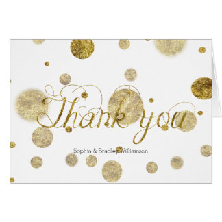Den guld- Glam Bokeh konfettin pricker tackar dig OBS Kort