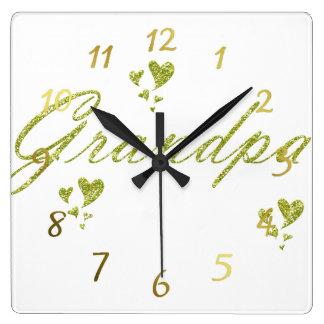 den guld- grendpaen tar tid på fyrkantig klocka