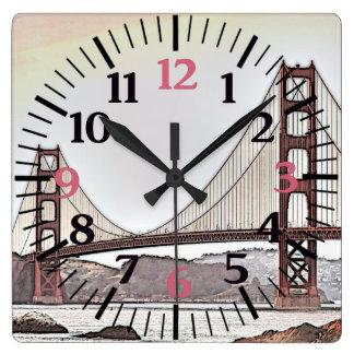 Den guld- grinden överbryggar - San Francisco, CA Fyrkantig Klocka