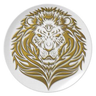 Den guld- lejona melaminen pläterar tallrik