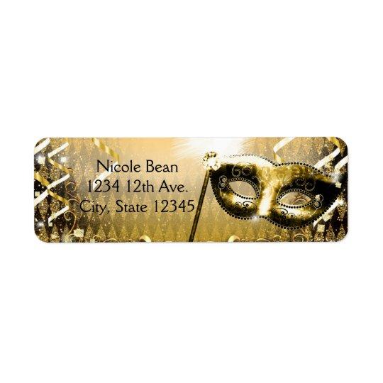 Den guld- maskeraden maskerar den eleganta returadress etikett