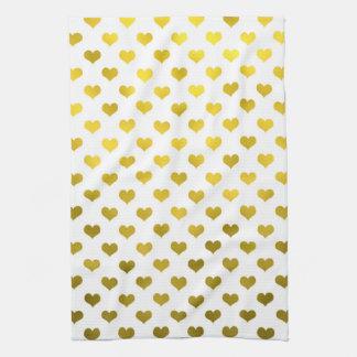 Den guld- metalliska fauxen omkullkastar hjärtor kökshandduk