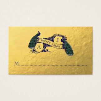 Den guld- påfågelanpassningsbar beställer visitkort