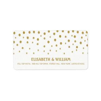 Den guld- polkaen pricker bröllop adressetikett