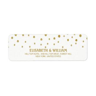 Den guld- polkaen pricker bröllop returadress etikett