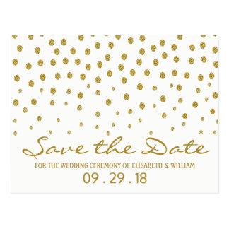Den guld- polkaen pricker bröllop spara datum vykort