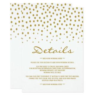 Den guld- polkaen pricker bröllop specificerar 11,4 x 15,9 cm inbjudningskort