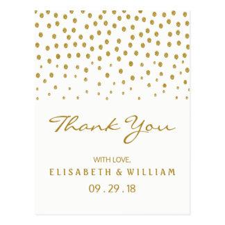 Den guld- polkaen pricker brölloptack vykort