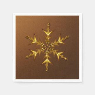 Den guld- snowflaken på borstat brons pappra pappersservetter