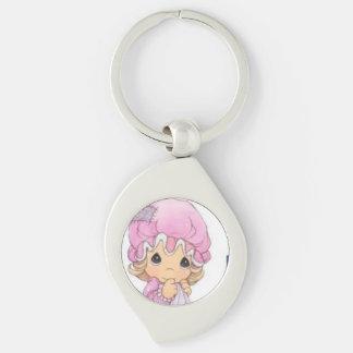Den gulliga babyen virvlar runt metall Keychain Swirl Silverfärgad Nyckelring