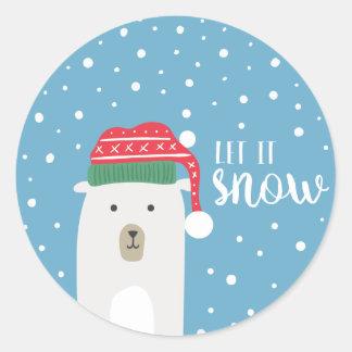 Den gulliga björnen låt det snöa julhelgdag runt klistermärke