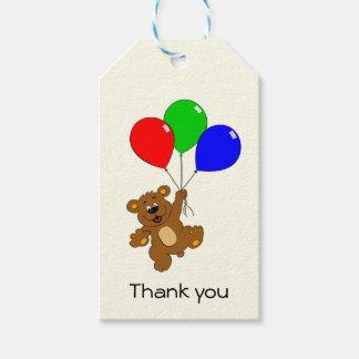 Den gulliga björnen med ballonger tackar dig presentetikett