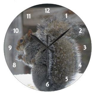 Den gulliga ekorren tar tid på stor klocka
