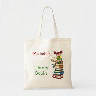 Den gulliga flickabibliotekboken hänger lös anpass budget tygkasse
