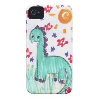 Den gulliga gröna dinosauren skissar blackberry iPhone 4 Case-Mate case