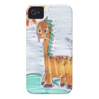 Den gulliga gula dinosauren skissar blackberry iPhone 4 Case-Mate case