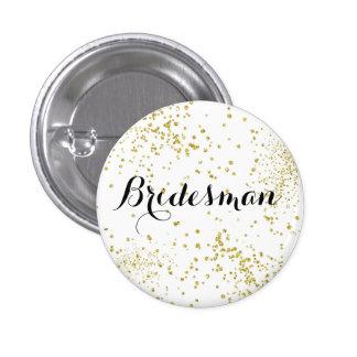 Den gulliga guld- glitterbridesmanen knäppas mini knapp rund 3.2 cm