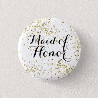 Den gulliga guld- glittermaid of honor knäppas mini knapp rund 3.2 cm