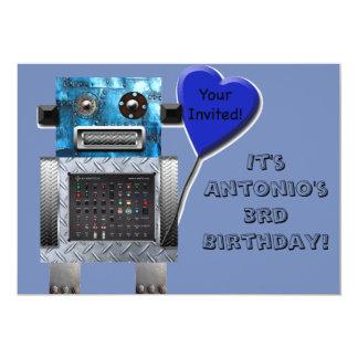Den gulliga inbjudan för robotfödelsedagkortet