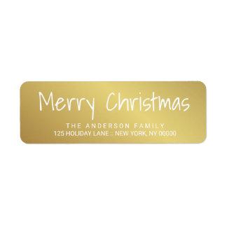 Den gulliga julen Räcka-Skrivev ut den guld- Returadress Etikett