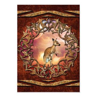 Den gulliga kängurun med bebiset i en fantasi 12,7 x 17,8 cm inbjudningskort