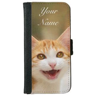Den gulliga le roliga katten för kattungen jamar plånboksfodral för iPhone 6/6s