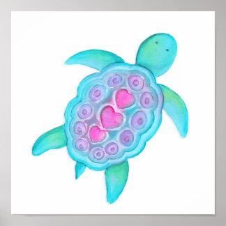 Den gulliga nyckfulla sköldpaddan lurar barnkammar poster