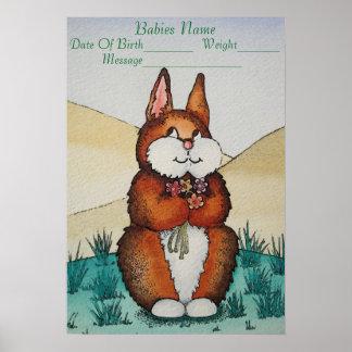 den gulliga nyfödd bebisnamngåvan med kaninen poster