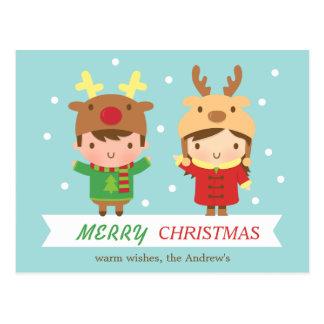 Den gulliga renen lurar god julhälsning vykort
