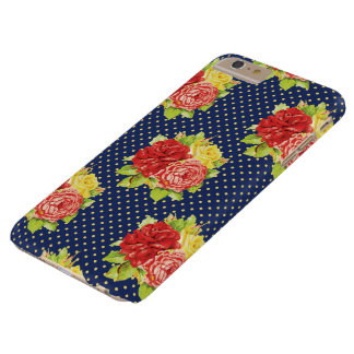 Den gulliga Retro polka dots & blommor ringer Barely There iPhone 6 Plus Fodral