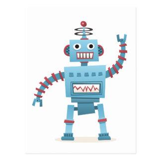 Den gulliga retro robotandroiden lurar tecknaden vykort