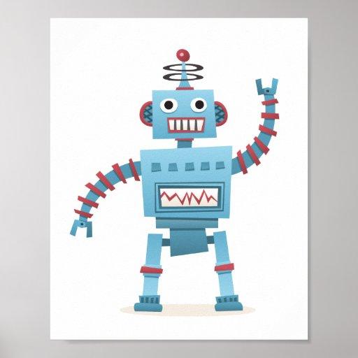Den gulliga retro robotandroiden lurar tecknadvägg posters