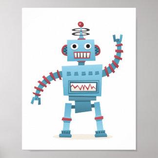 Den gulliga retro robotandroiden lurar tecknadvägg poster