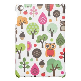 Den gulliga retro ugglan och träd mönstrar ipadfod iPad mini mobil fodral
