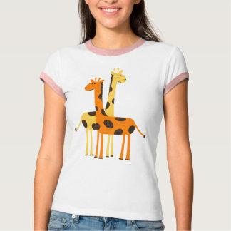 Den gulliga roliga giraffet parar t shirt