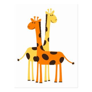 Den gulliga roliga giraffet parar vykort