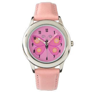 Den gulliga rosa fjärilen med gult pricker armbandsur