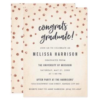Den gulliga rosa guld- polkaen pricker studentkort 12,7 x 17,8 cm inbjudningskort