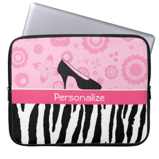 Den gulliga rosasvarten skor den moderiktiga zebra datorskydds fodral