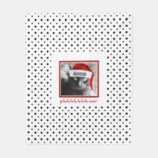 Den gulliga Santa katten på B&W-polka dots, Fleecefilt