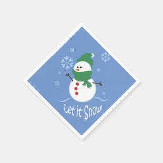 Den gulliga snögubben låt det snöa servett