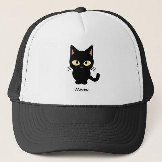 Den gulliga svart katten jamar tecknaden truckerkeps
