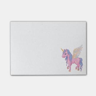 Den gulliga unicornen med regnbågen påskyndar post-it block